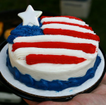 Red white and blue birthday cake